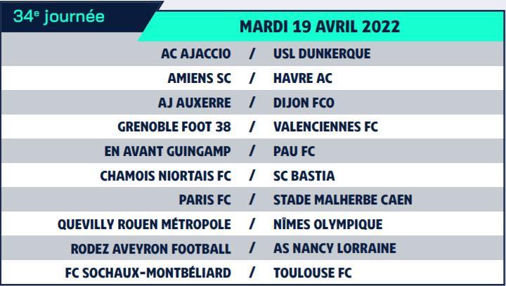 Calendrier de Ligue 2 saison 2021-2022 Calend44