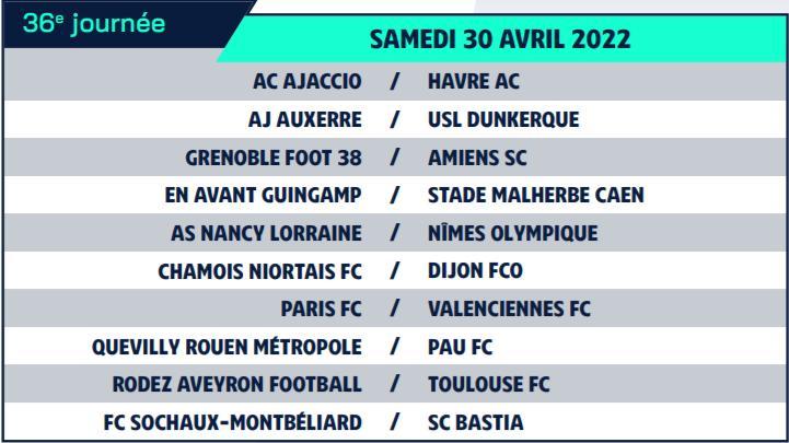 Calendrier de Ligue 2 saison 2021-2022 Calend46