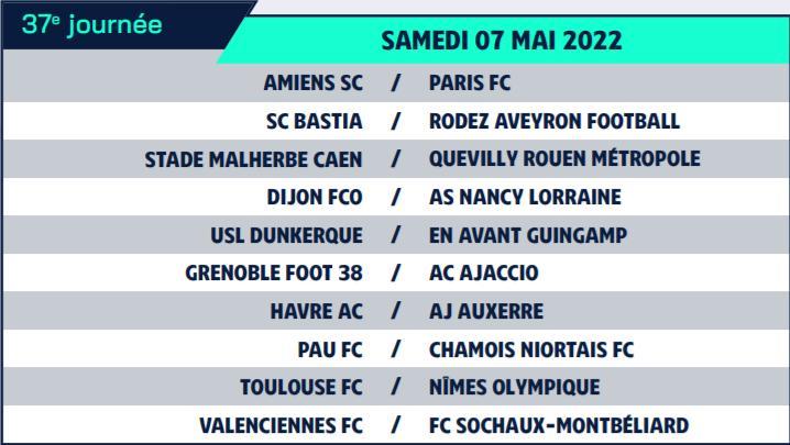 Calendrier de Ligue 2 saison 2021-2022 Calend47