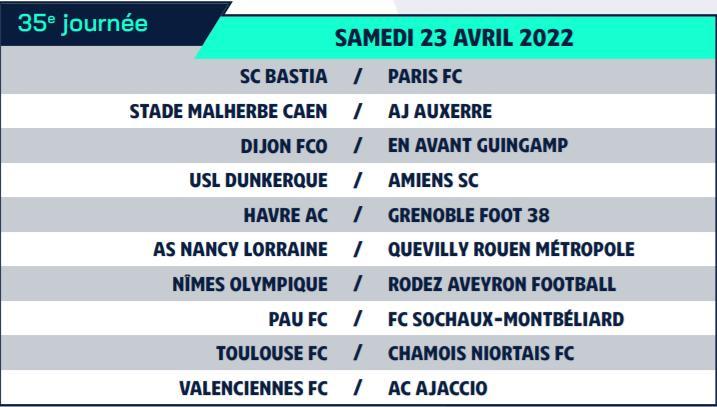 Calendrier de Ligue 2 saison 2021-2022 Calend48