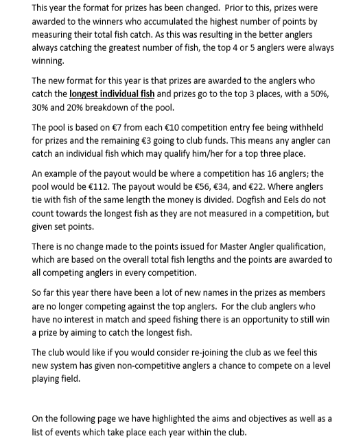Club Changes and new aims to bring anglers together Please take five mins to read Page_110