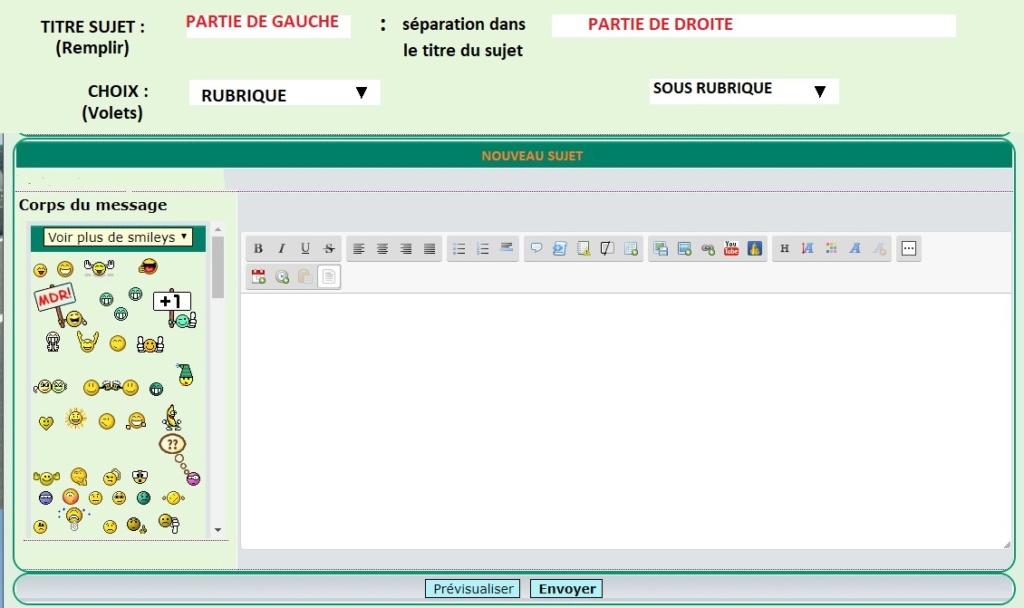 Automatiser TITRE des sujets + le choix de la rubrique Formul10