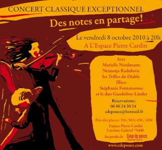Nemanja RADULOVIC,coup de pouce à Coup de Pouce Humanitaire, concert caritatif du 8 Octobre 2010 Encart10