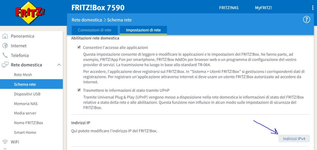 FRITZ! box 7590 da 6.92 tedesco a 6.98 internazionale Rete10