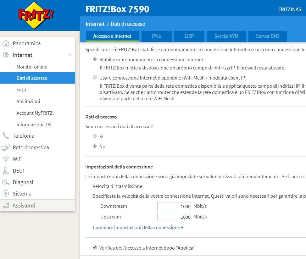 Configurazione Fritz!Box 7590 con Fibra.City Speed11