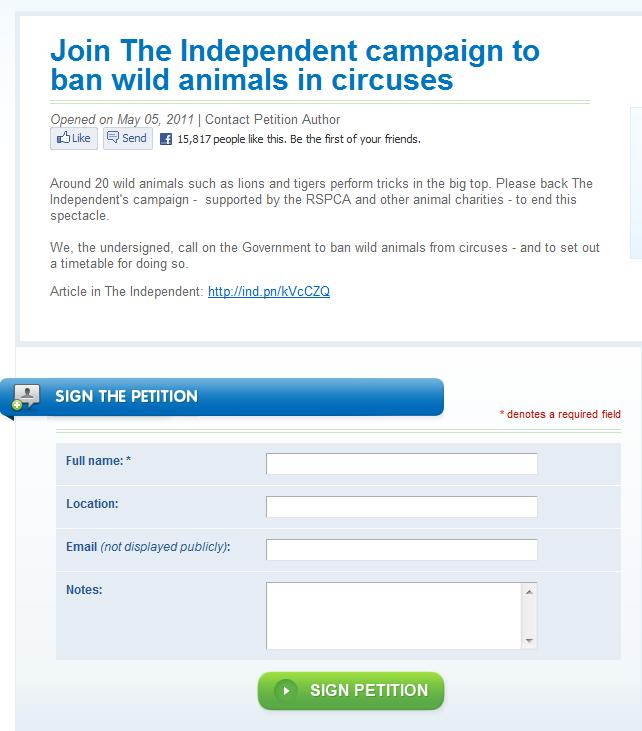 Ban Wild Animals in Circus's Petition We176