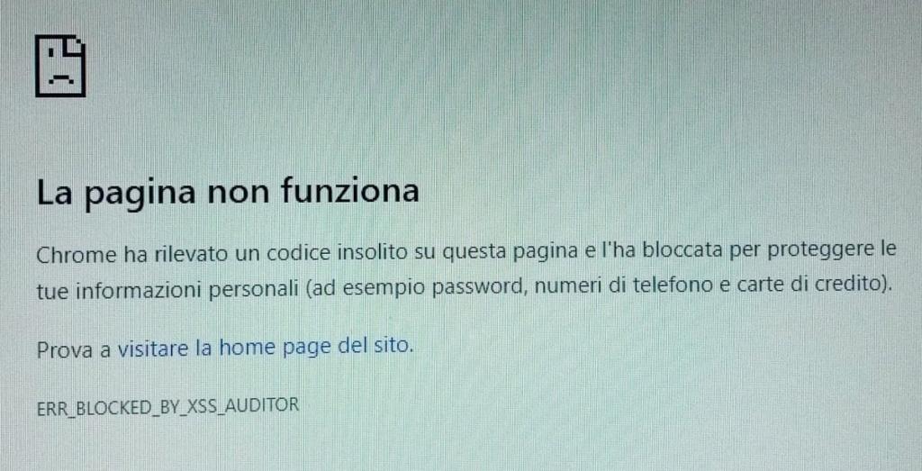 Cliccando su Anteprima Chrome segnala errore Xxx10