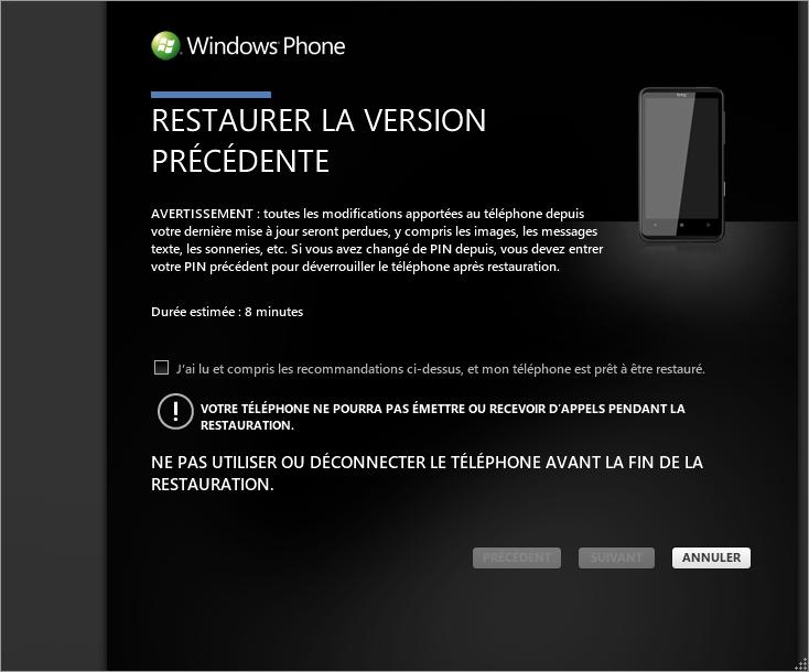 [TUTO] Faire une restauration après mise à jour sous Windows Phone 7 0310