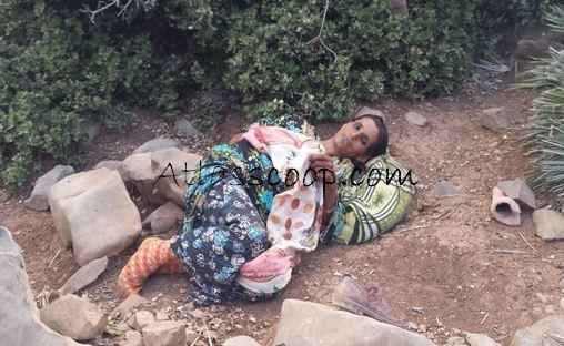 فيديو وصور صادمة ... العثور على سيدة بغابة تاصميت قطعت شهرا مشيا على القدمين بين أزيلال وبني ملال ـ Aocoi_15