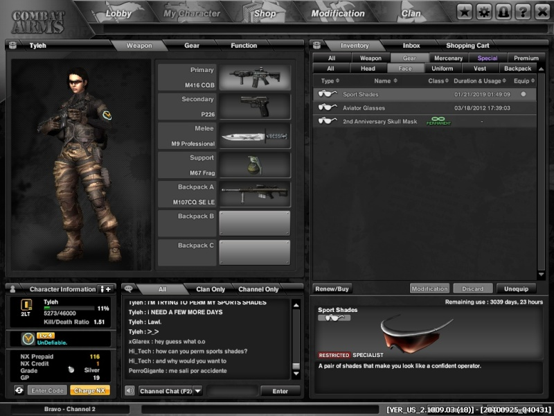 The Quest to Perm Sports Shades! Combat10