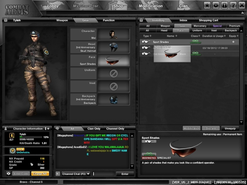 The Quest to Perm Sports Shades! Combat11