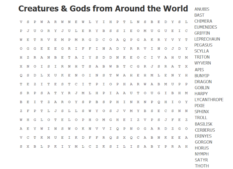 Creatures and Gods from Around the World Word Search Mythol10