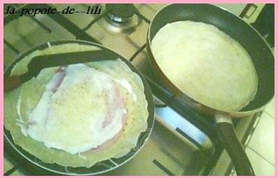 Crepes jambon fromage maison façon aumonieres  Crepeu10