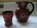red / gold speckled beakers & jug Ebay1_21