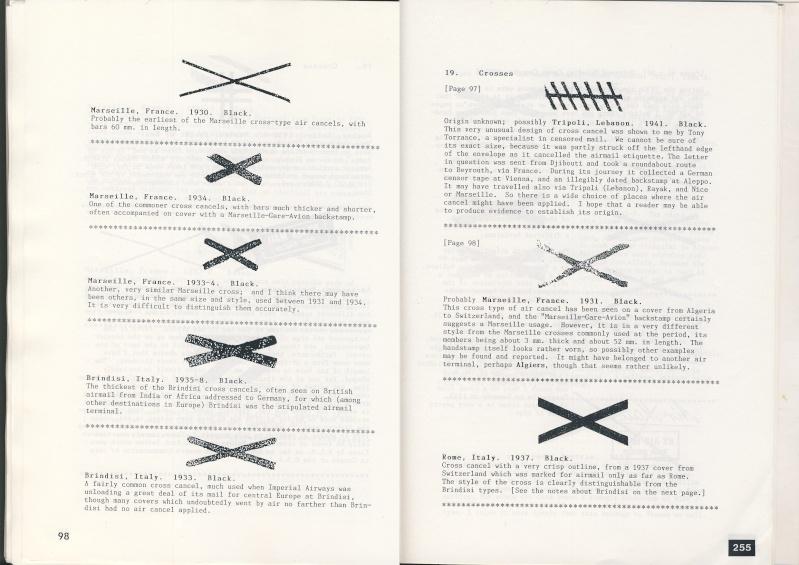 Croix ou lignes parallèles,au tampon, sur étiquettes PAR AVION Croix10
