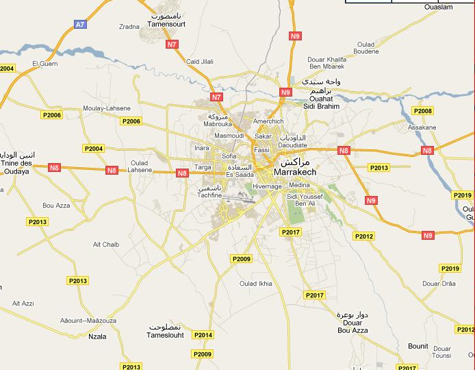 Carte liaison Marrakech peripherie Marrak12