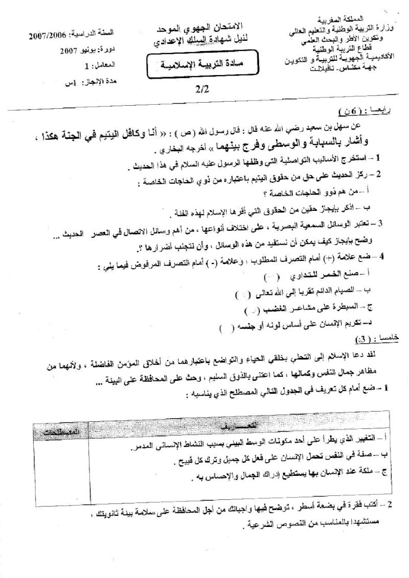 الامتحان الجهوي لنيل شهادة السلك الاعدادي -التربية الاسلامية. جهة مكناس تافيلالت-(يونيو 2007) Uuuoo_12