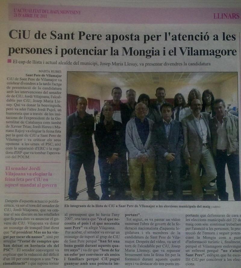 Presentació candidatura CiU a Sant Pere 24042012