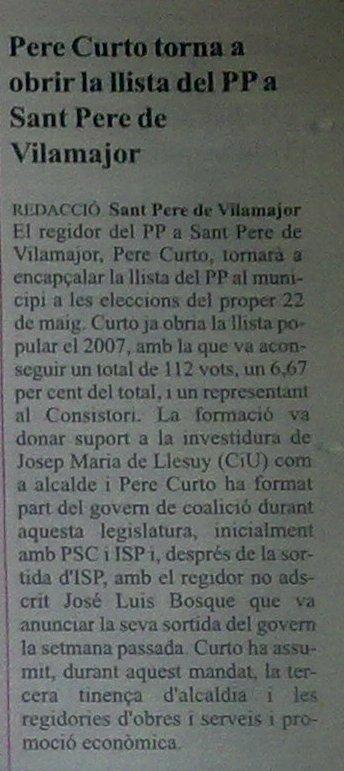 Pere Curto torna a obrir la llista del PP a Sant Pere de Vilamajor 24042013