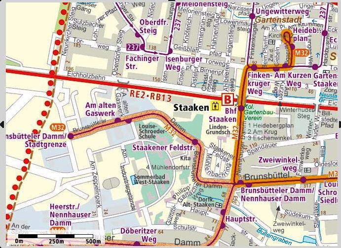 M32 Rathaus Spandau <=> Staaken Map210
