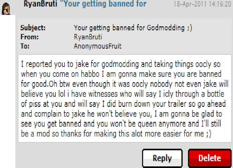 AnonymousFruit, Godmodding and Banning. Ryango10