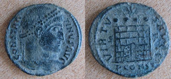 Nummus de Constantin Ier (VIRTVS AVGG) 710