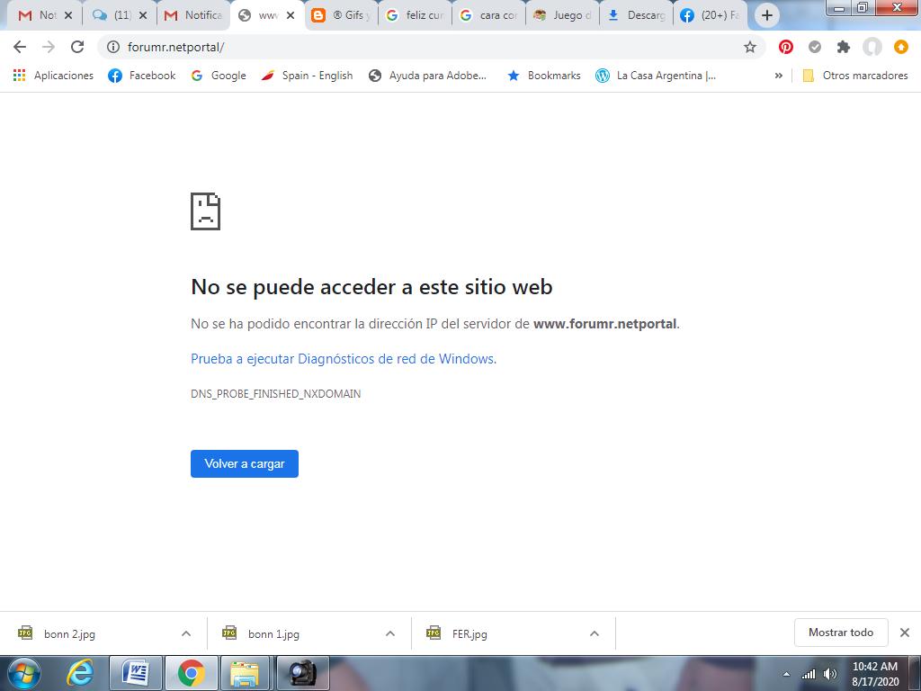 Al ingresar al foro sale un cartel que indica No se puede acceder a este sitio web Mio10