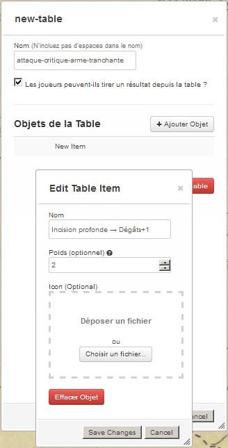 Tutoriel roll20 : tout automatiser grâce aux tables rollables et aux macros 01010