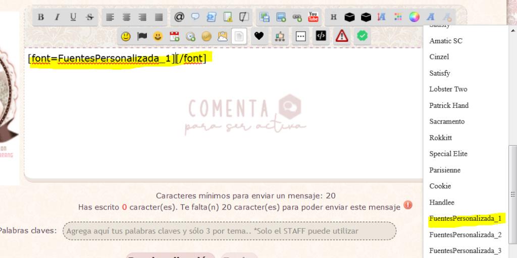 Las fonts agregadas a las fuentes del editor no funciona, las fonts se visualizan en la lista de fonts pero no se aplican al texto Captur82