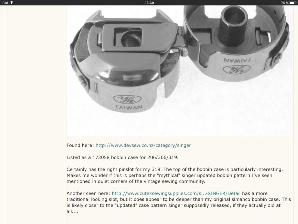 Les aiguilles de remplacement : 15x1 = 130/705H  et boitier de canette de remplacement A59d6a10