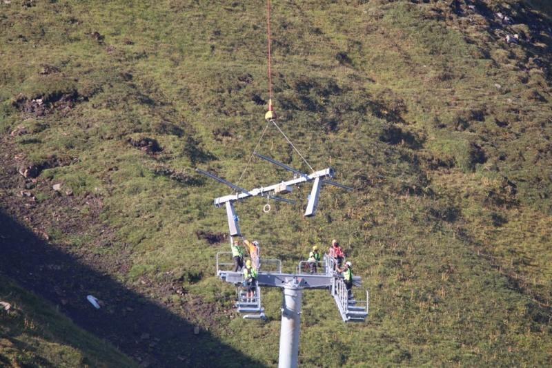 Construction télésiège débrayable (TSD6) du Mottet - Valmorel (Poma) 813