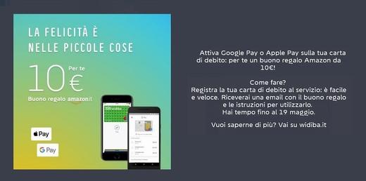 WIDIBA regala BUONO AMAZON € 10 se attivi Apple Pay o Google Pay sulla carta di debito [promozione scaduta il 19/05/2019] 210