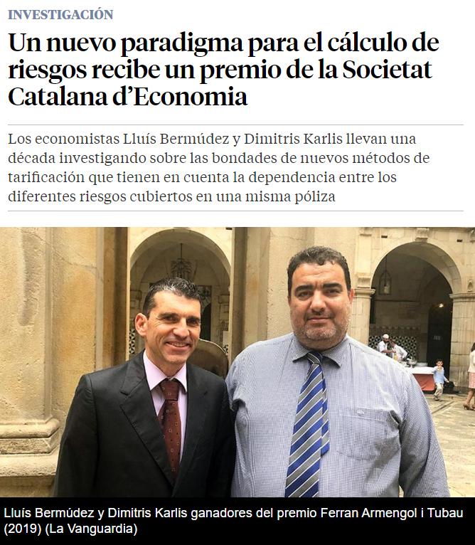 Ο Δημήτρης Καρλής (Καθηγητής του Τμήματος Στατιστικής του ΟΠΑ και Διευθυντης του Μεταπτυχιακού Στατιστικής) Βραβεύτηκε από την Καταλωνική Εταιρεία Οικονομικών 210