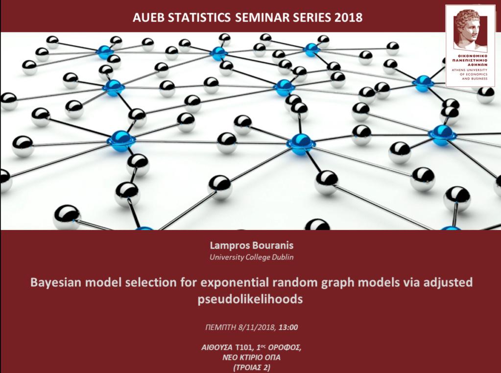 AUEB STATS SEMINARS 8/11/2018: Bayesian model selection for exponential random graph models via adjusted pseudolikelihoods by Lampros Bouranis Bouran10