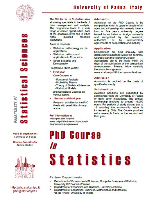PhD Course in Statistics @ University of Padova  Padova11