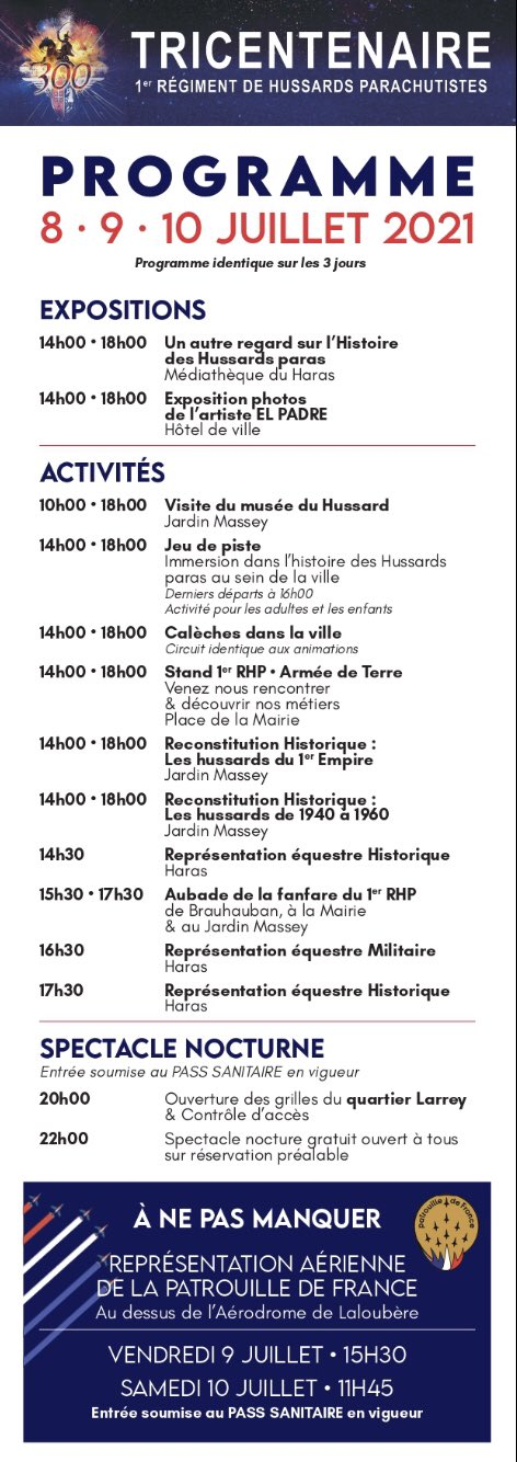 Tricentenaire du 1er RHP, Tarbes les 8, 9 et 10 juillet E5jrit10