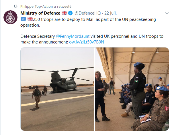 Déploiment de 250 casques bleus britanniques au Mali Scree169