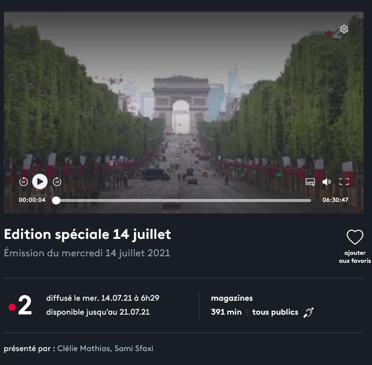 Défilés 14 juillet 2021, Paris - nombreux replays Scree361