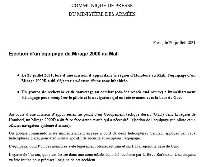 Ejection de l'équipage d'un Mirage 2000D au Mali Scree364