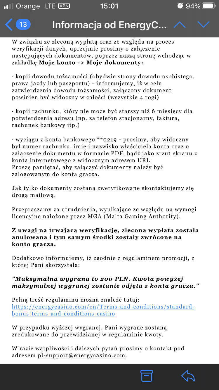 Energy Casino - wypłaty i weryfikacja Dd343a10