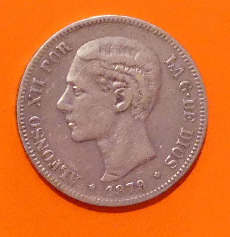 5 pesetas 1879 Alfonso XII. Opinión P1020610