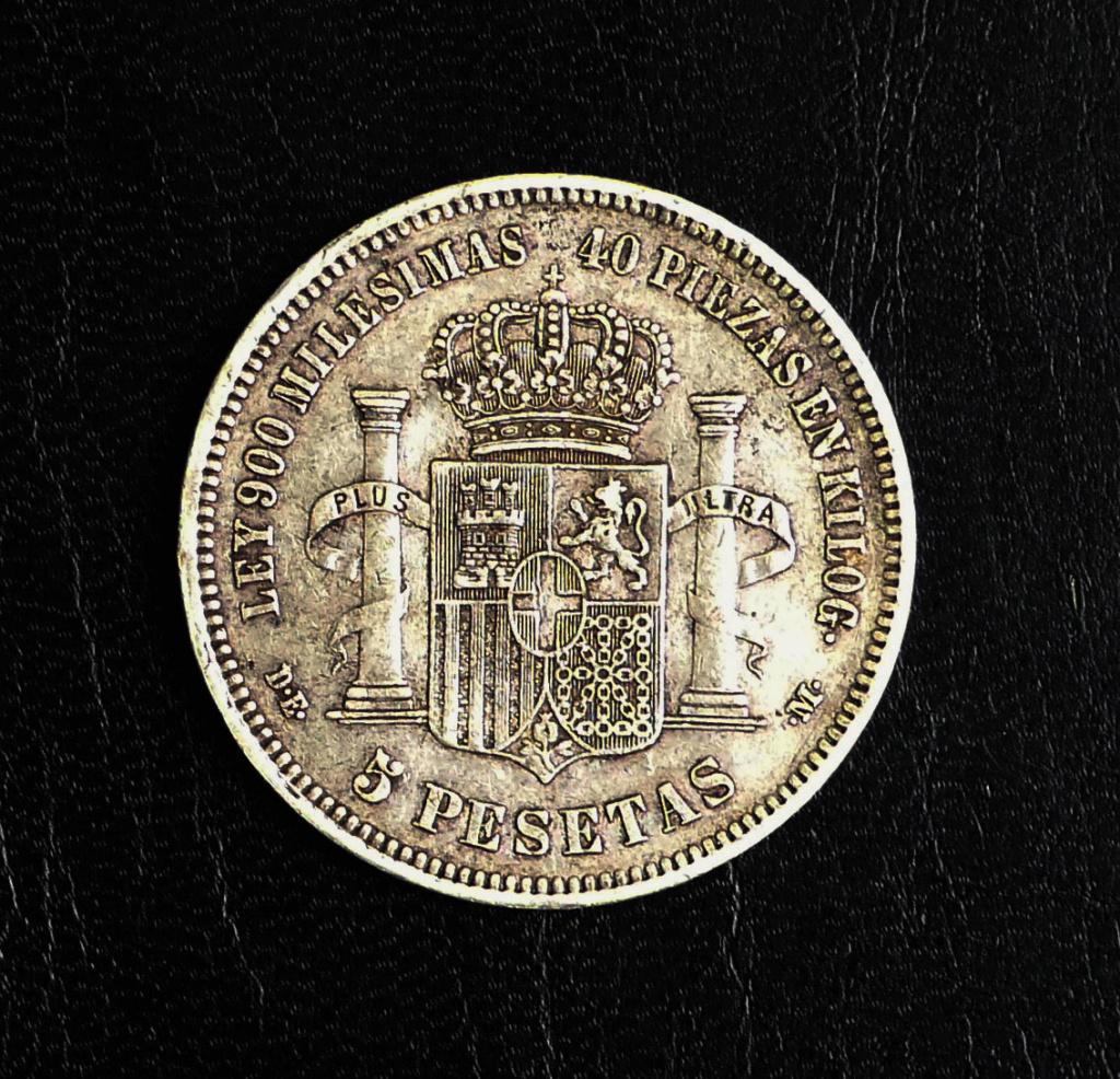 5 pesetas 1871 (*18-74). Amadeo I. Opinón P1050011