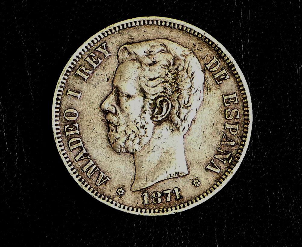 5 pesetas 1871 (*18-74). Amadeo I. Opinón P1050012