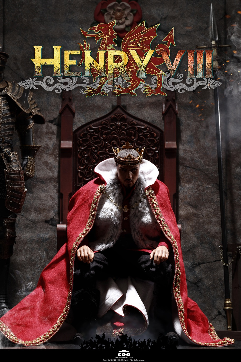 CooModel - NEW PRODUCT: COOMODEL: 1 / 6 alloy die-casting empire series - Henry VIII Lions version of the red dragon version of the Tudor version of the Wolf Hall scene 00313510