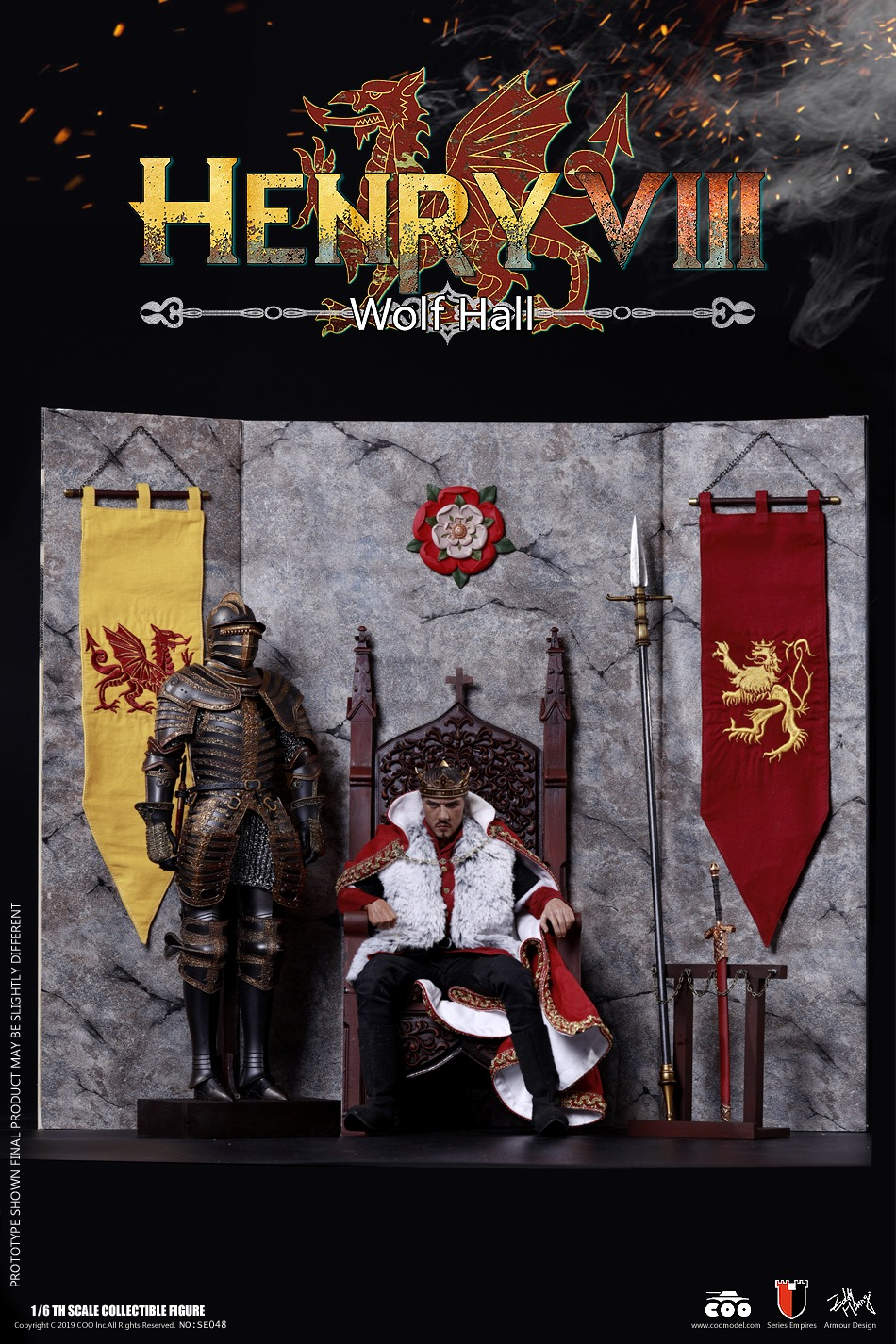 CooModel - NEW PRODUCT: COOMODEL: 1 / 6 alloy die-casting empire series - Henry VIII Lions version of the red dragon version of the Tudor version of the Wolf Hall scene 00374711