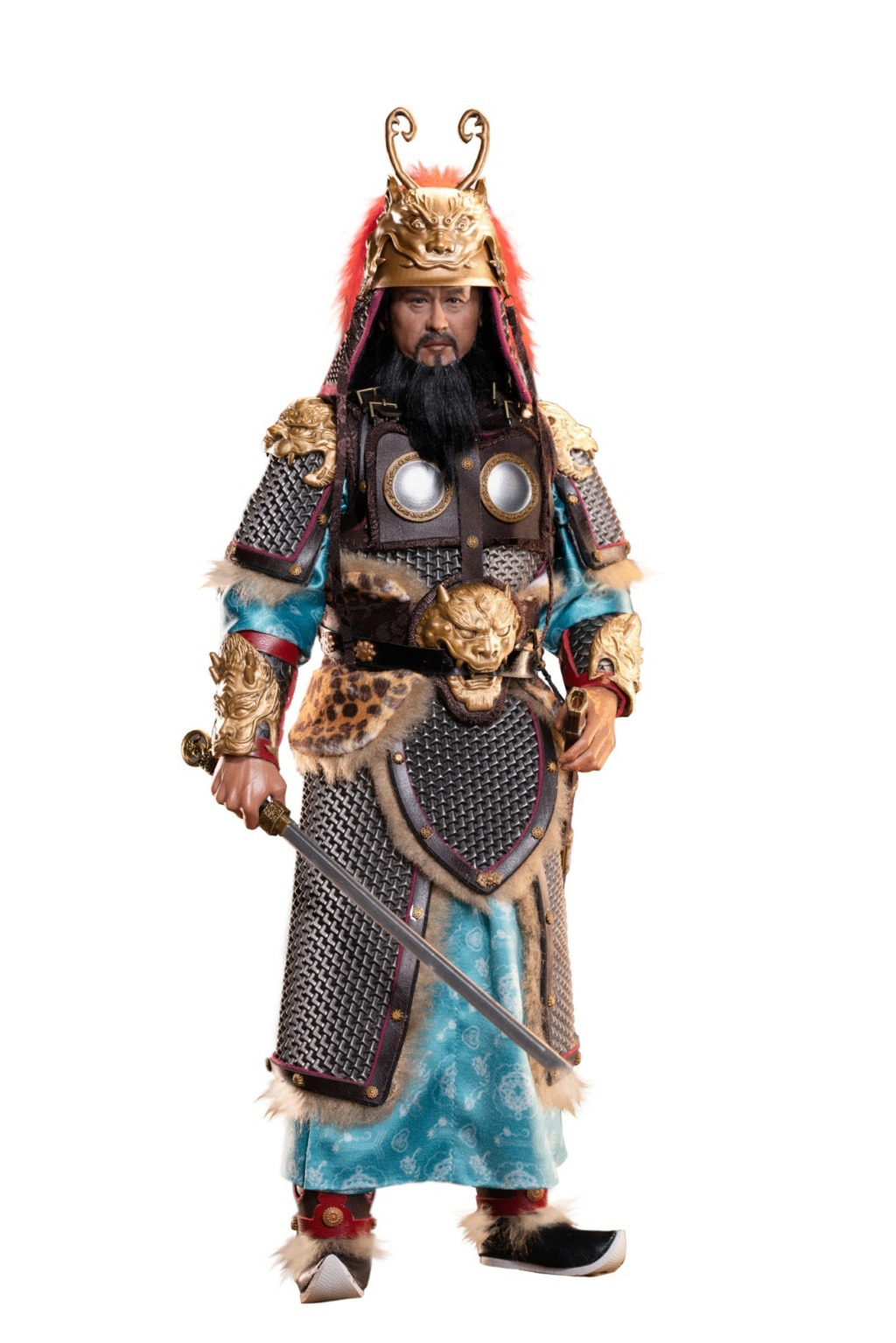 "General - NEW PRODUCT: Tiangongfang: 1/6 Tang Dynasty ""Eight Duke""-General Lion Head (handmade brass mountain armor, fish scale armor) 01575810"