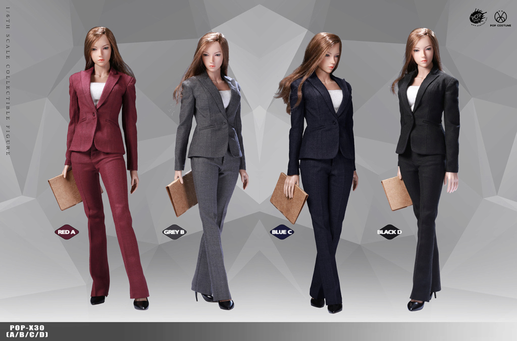 NEW PRODUCT: POPTOYS: 1/6 Office Girl - Women's Suit Set X29 Skirt & X30 Trousers 026