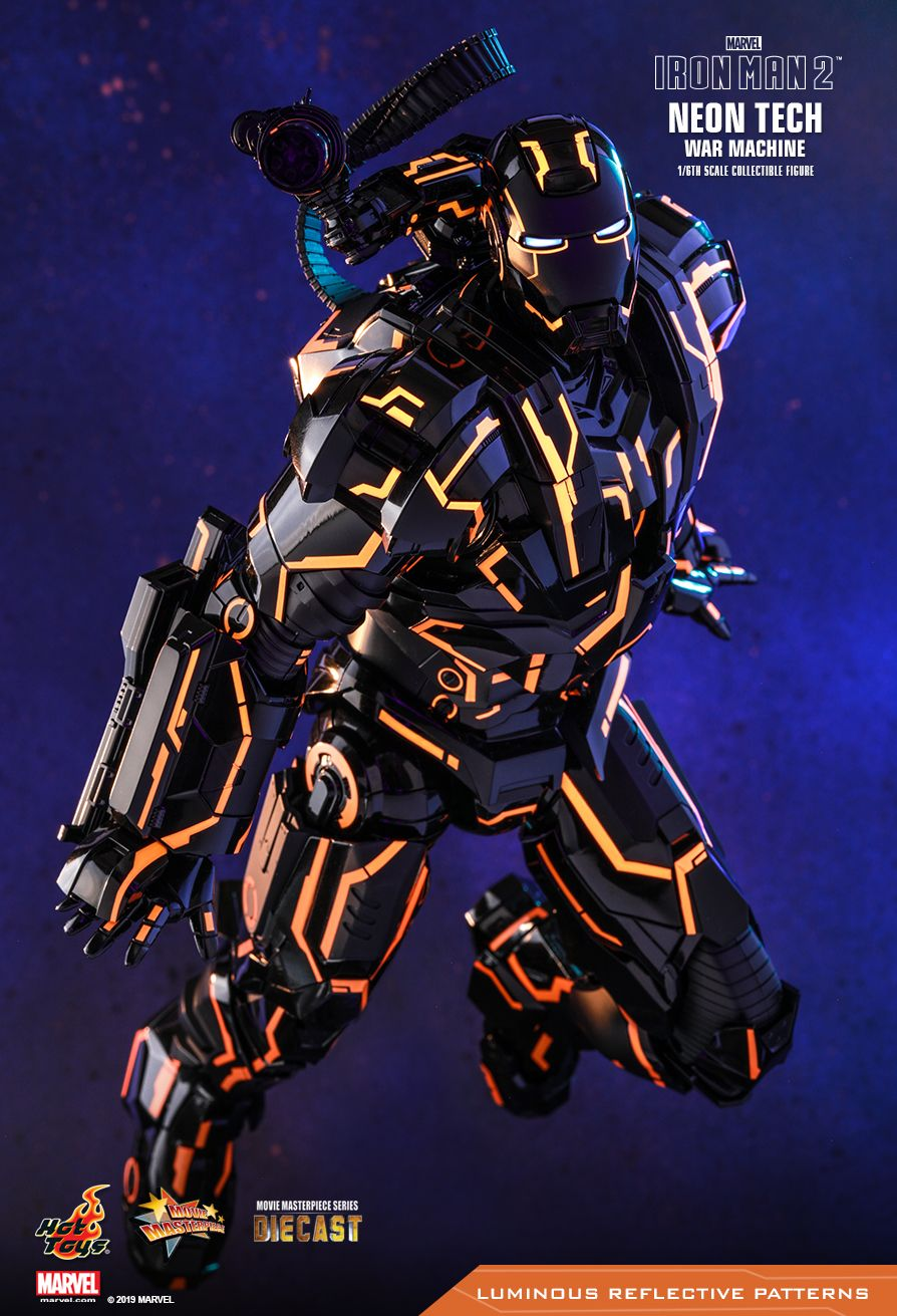 NEW PRODUCT: HOT TOYS: IRON MAN 2 NEON TECH WAR MACHINE 1/6TH SCALE COLLECTIBLE FIGURE (EXCLUSIVE EDITION) 10209