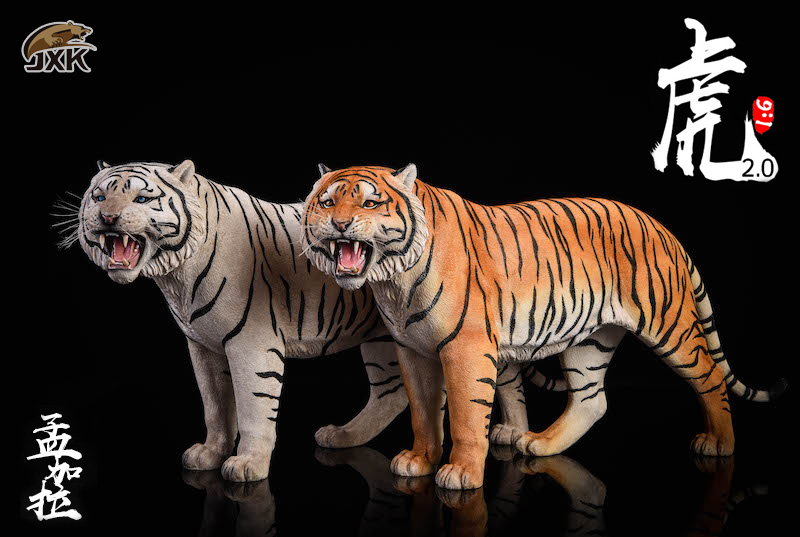 NEW PRODUCT: JXK: 1/6 Bengal Tiger Tiger - 2.0 Roaring & White Tiger Animal Model 11013810