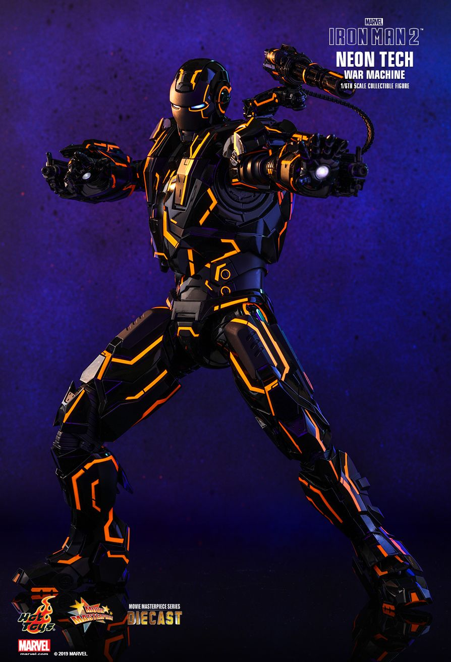 NEW PRODUCT: HOT TOYS: IRON MAN 2 NEON TECH WAR MACHINE 1/6TH SCALE COLLECTIBLE FIGURE (EXCLUSIVE EDITION) 11035